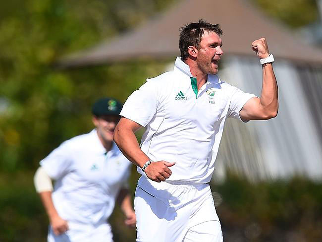 South African A Hardus Viljoen  celebrates after Phil Hughes' wicket