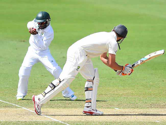 Australia A skipper Moises Henriques caught at short leg by Temba Bavuma after facing nine balls.